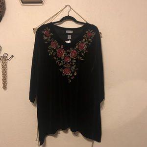 Velvet Embroidered Top